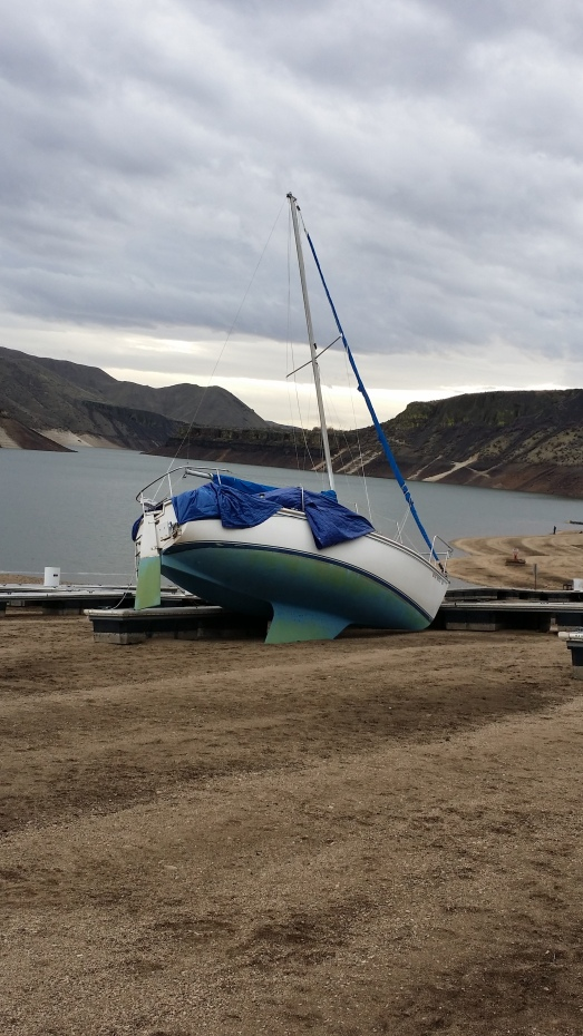Lucky Peak Beached boat